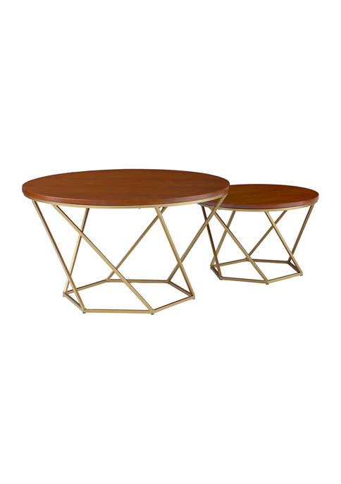 Modern Glam Nesting Coffee Tables   Set of 2