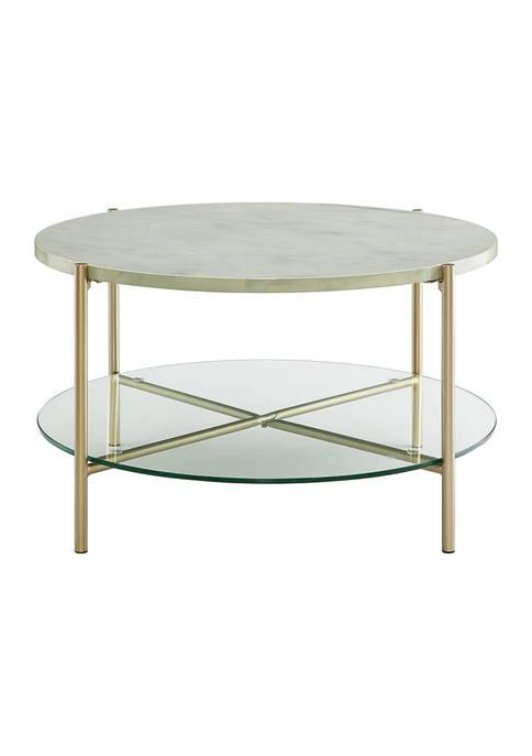 Bridgeport Designs Modern Glam Round Shelf Coffee Table