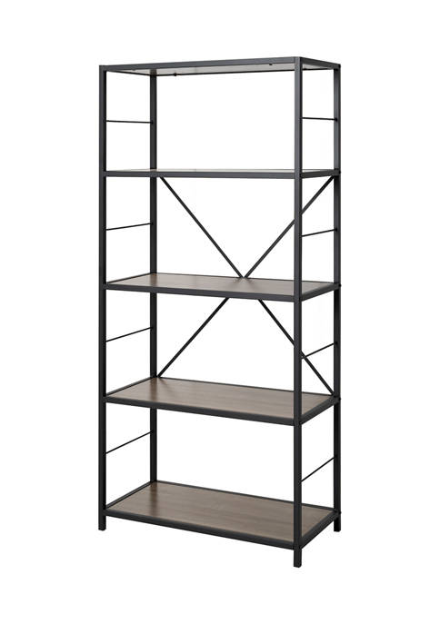 Rustic Industrial 6 Shelf Bookshelf