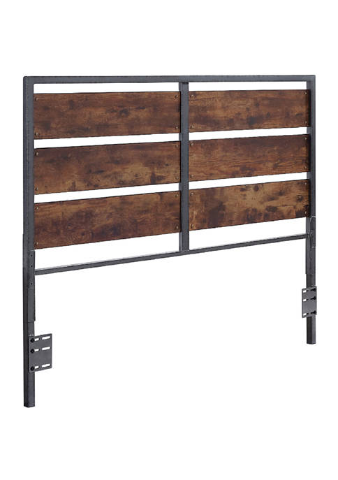 Rustic Industrial Queen Plank Panel Headboard
