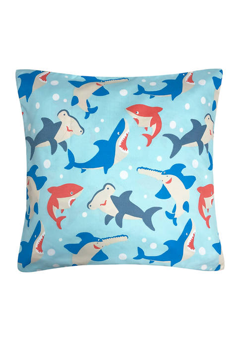 Shark Tales Decorative Pillow 18 in x 18 in