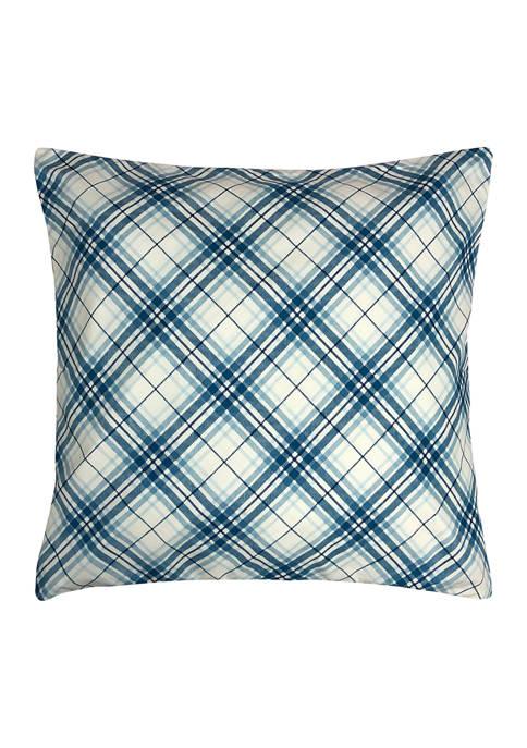 Harper Lane Plaid Decorative Pillow 18x18 Blue