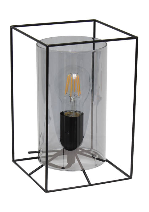 Lalia Home Small Framed Table Lamp with Cylinder