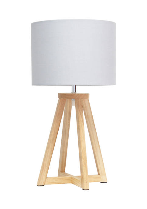 Simple Designs Interlocked Triangular Wood Table Lamp with