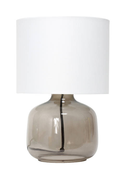 Simple Designs Glass Table Lamp with Fabric Shade