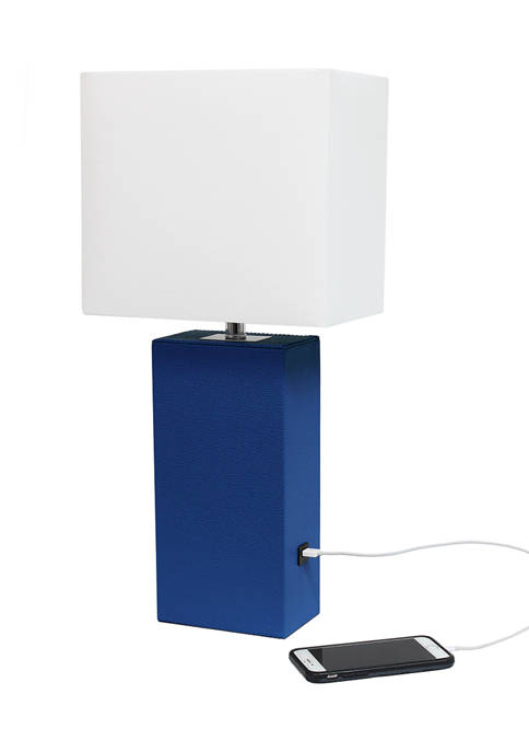 Elegant Designs Modern Leather Table Lamp with USB