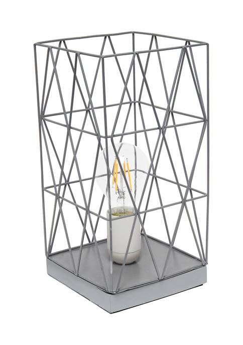 Simple Designs Geometric Square Metal Table Lamp
