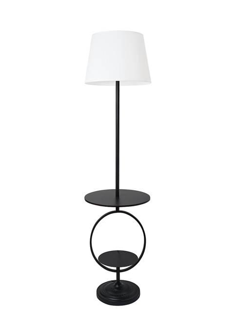 Bedside End Table Dual Shelf Decorative Floor Lamp, Black