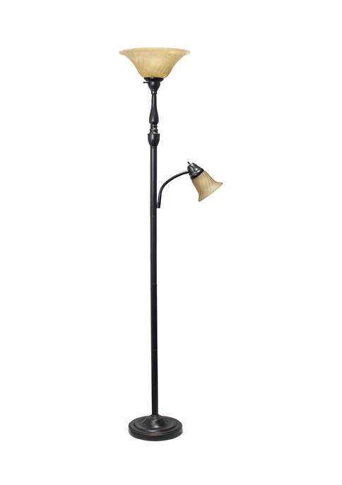 2 Light Mother Daughter Floor Lamp with Marble Glass Shades, Restoration Bronze and Amber