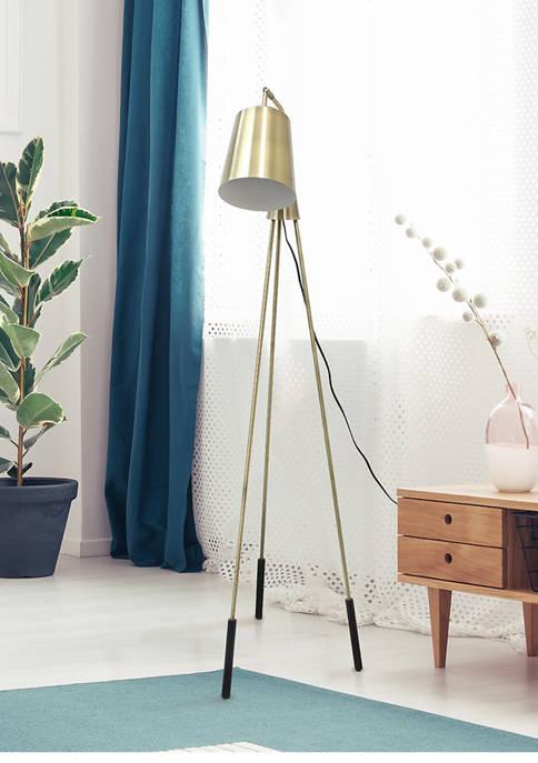 Industrial One Light Tripod Floor Lamp with Interior White Spotlight