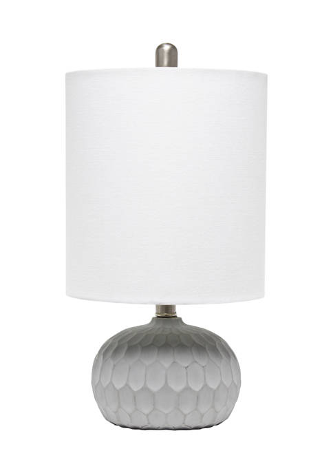 Concrete Thumbprint Table Lamp with White Fabric Shade