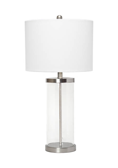 Entrapped Glass Table Lamp with White Fabric Shade