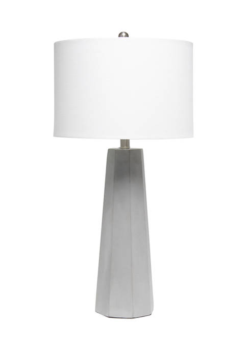 Lalia Home Concrete Pillar Table Lamp with White