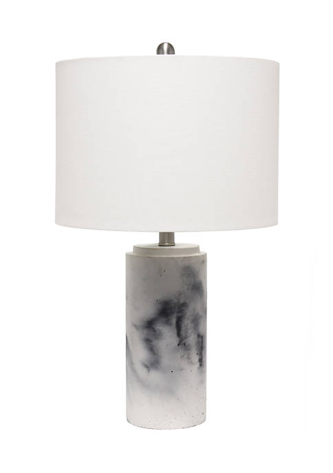 Marbleized Table Lamp with White Fabric Shade,  White