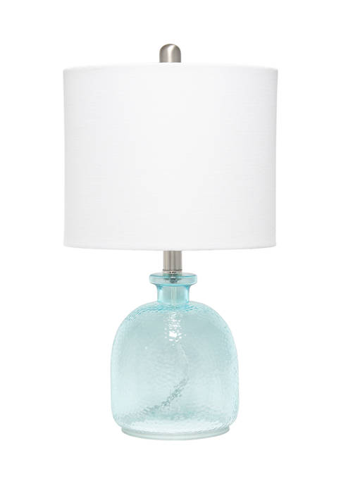 Lalia Home Clear Blue Hammered Glass Jar Table