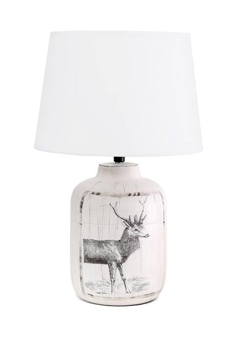 Rustic Deer Ceramic Farmhouse Table Lamp