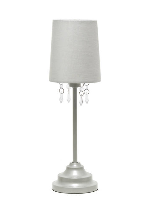 Table Lamp with Fabric Shade and Hanging Acrylic Beads