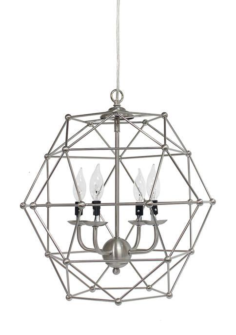 4 Light Hexagon Industrial Rustic Pendant Light, Brushed Nickel