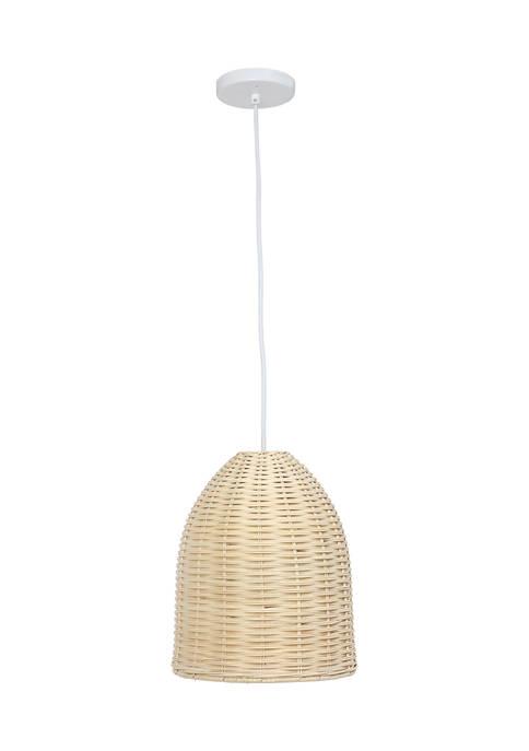 Elegant Designs Coastal Dome Rattan Downlight Pendant, Natural