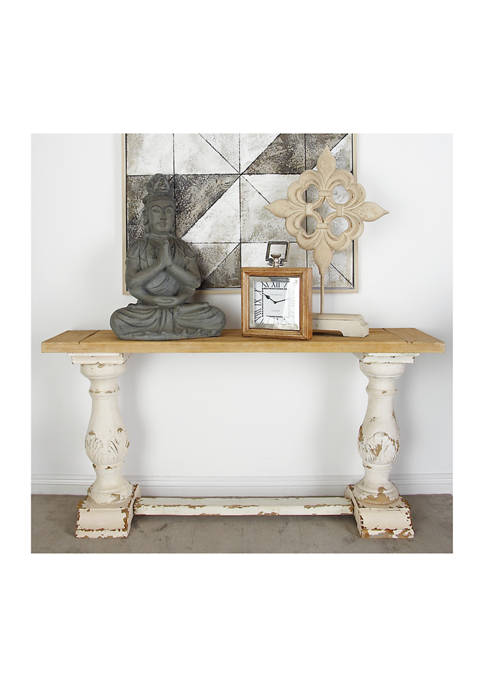 Antique Console Table with Carved Base