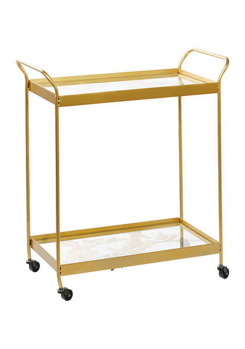 Monroe Lane Gold Metal Contemporary Bar Cart