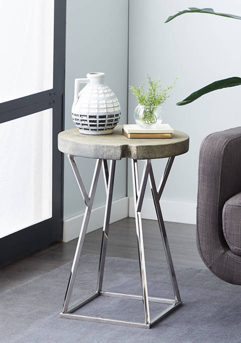 Monroe Lane Brown Stainless Steel Contemporary Accent Table