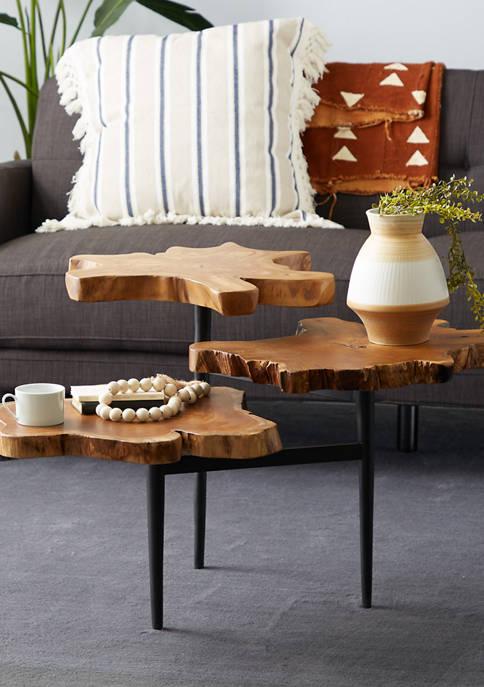 Monroe Lane Brown Teak Wood Natural Accent Table
