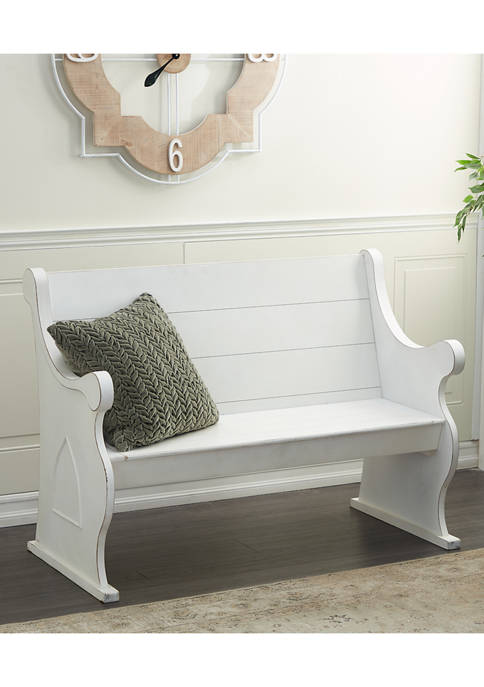 White Wood Country Cottage Outdoor Bench