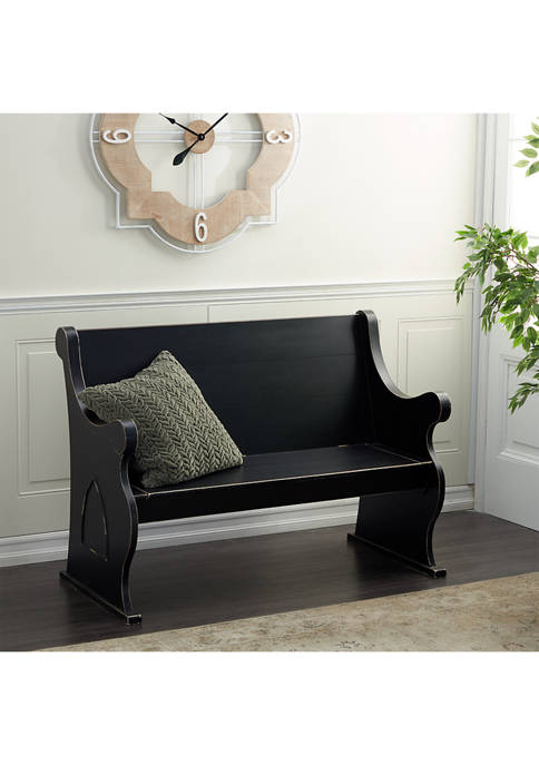 Black Wood Country Cottage Outdoor Bench