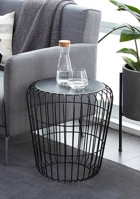 Monroe Lane Industrial Accent Table with Birdcage Silhouette