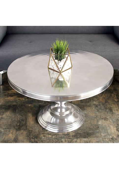 Monroe Lane Traditional Metallic Round Coffee Table