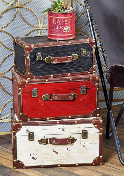 Wooden Trunk  - Set of 3