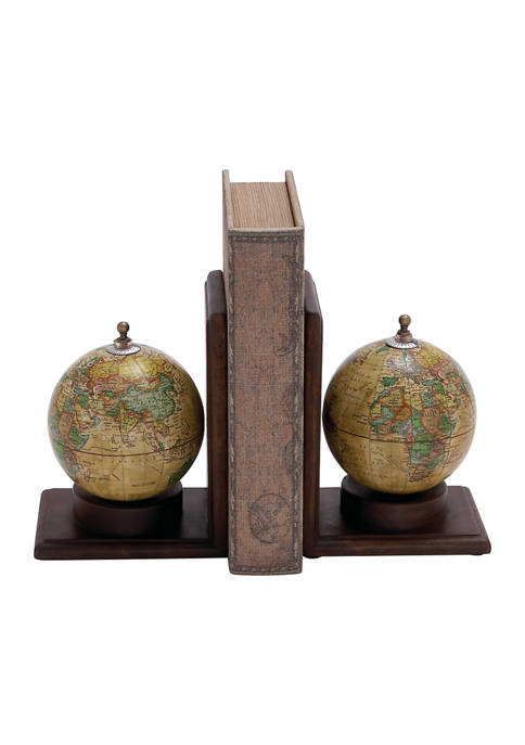 Traditional Sepia Globe Bookends - Set of 2