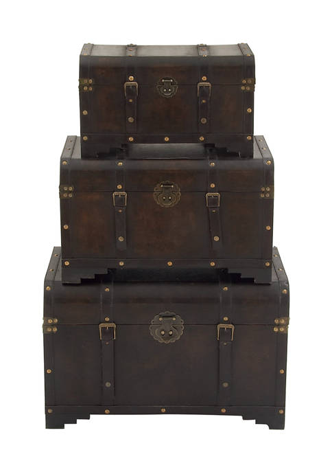 Wood Leather Trunk - Set of 3
