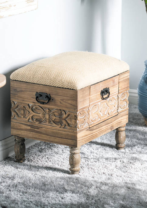 Wooden Stool with Drawer