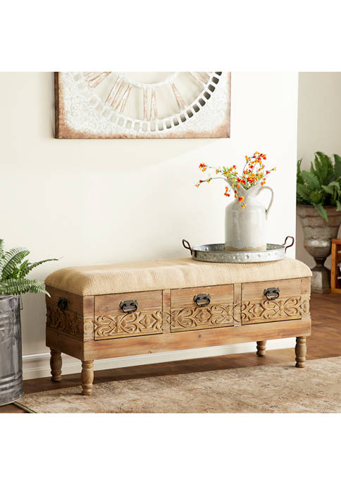 Monroe Lane Natural Carved Wood Bench with Drawers