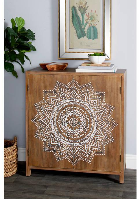 Monroe Lane Natural Wood Cabinet with Mandala Shelves