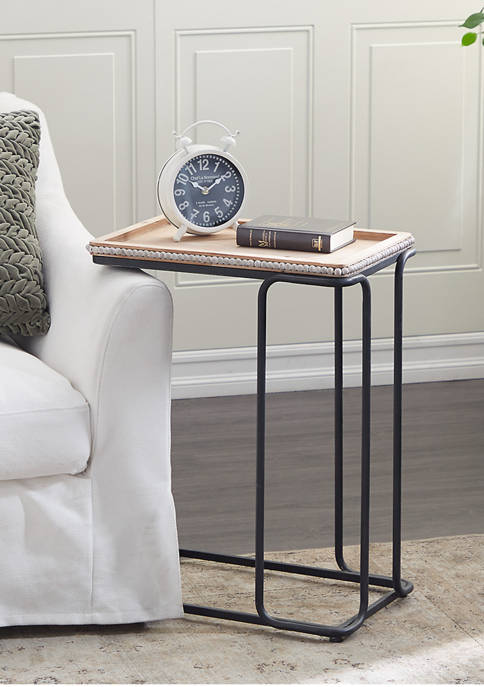 White Ceramic Industrial Accent Table