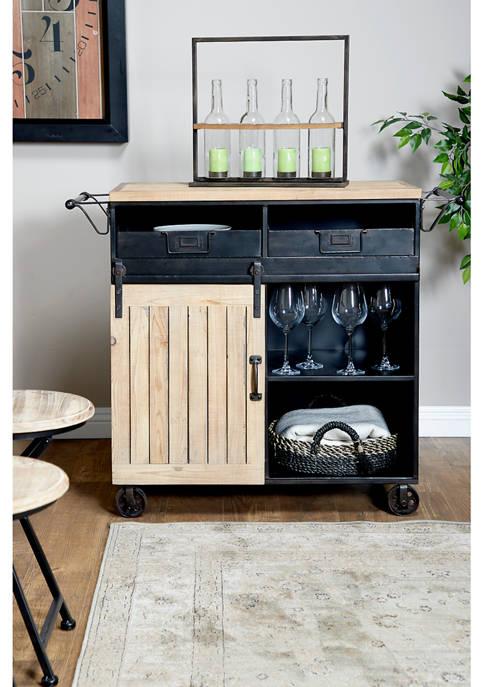 Monroe Lane Industrial Wooden Cabinet