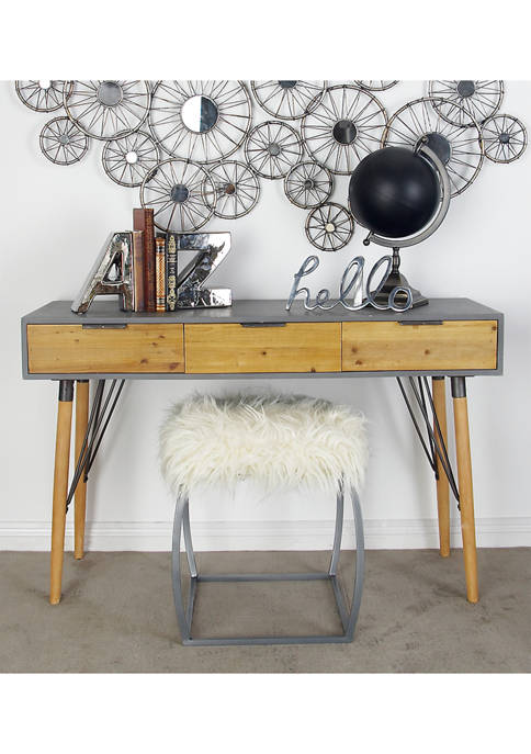 Modern Cypress Wood and Iron Rectangular Console Table with Drawers