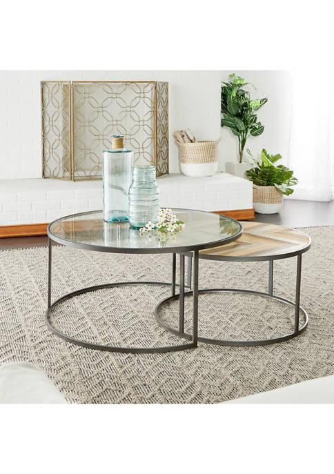 Monroe Lane Contemporary Nesting Round Coffee Table