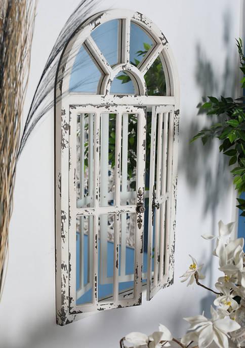 Monroe Lane Farmhouse Distressed Arched Window Wall Mirror