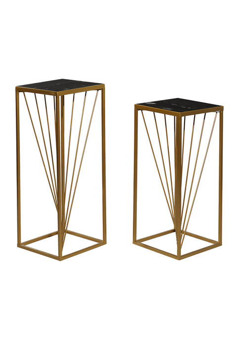 Monroe Lane Gold Marble Contemporary Accent Table