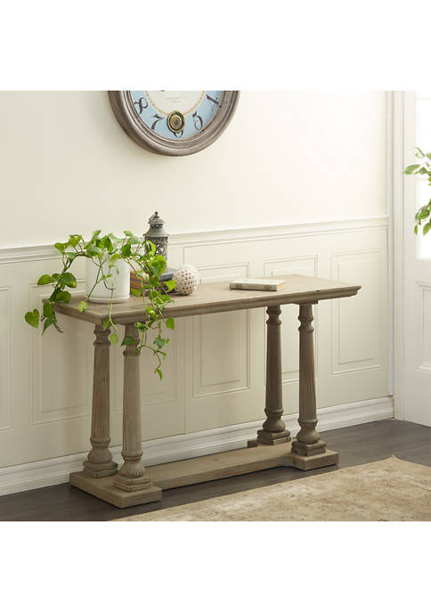 Monroe Lane Textured Wooden Console Table with Turned