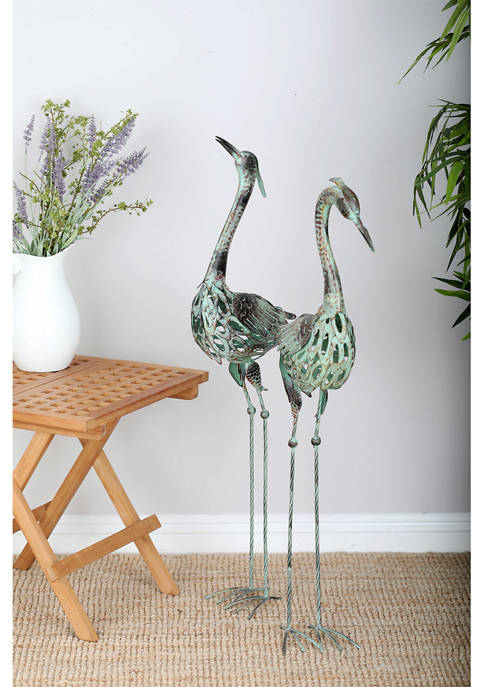 Coastal Green Iron Crane Sculptures - Set of 2