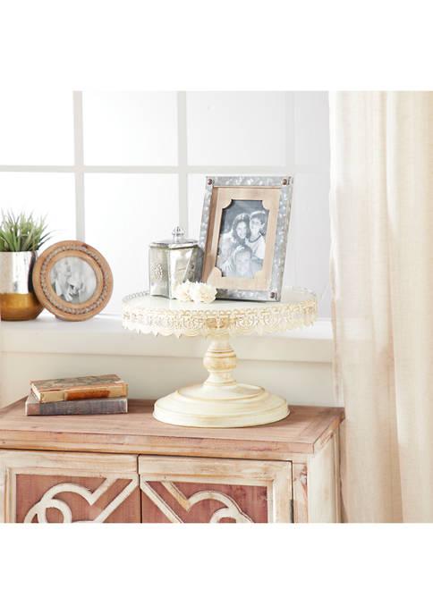 Monroe Lane Rustic Round White Iron Pedestal Cake