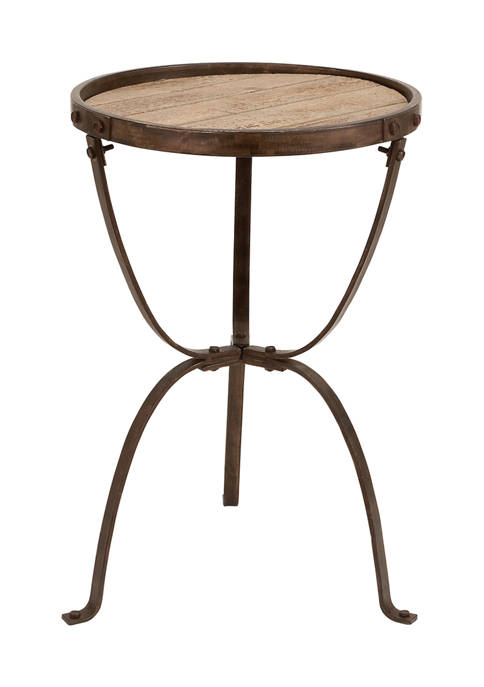 Metal Wooden Accent Table