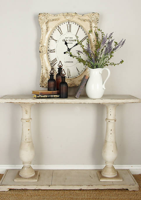 Monroe Lane Antique Wood Console Table with Carved