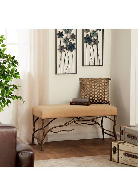 Monroe Lane Metal Wooden Fabric Bench