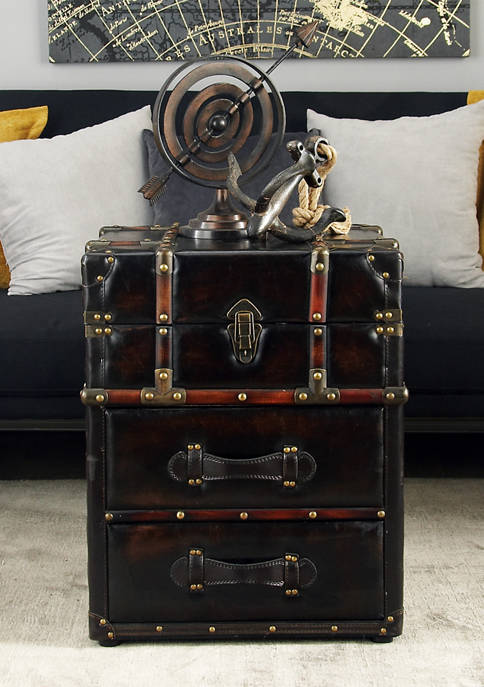 Monroe Lane Faux Leather Chest Coffee Table